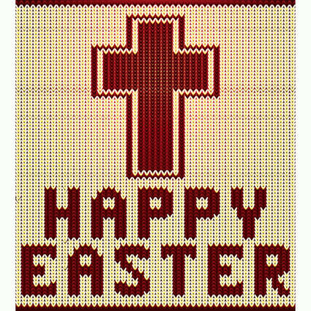 Knitted Happy Easter christian cross pattern , vector illustration