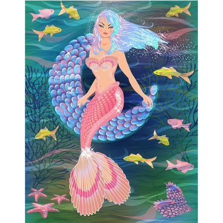 Pretty mermaid, moon , fish. greeting card. vector illustration