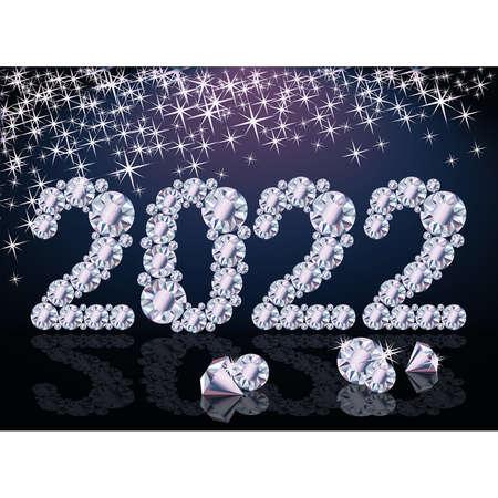 Diamond 2022 New year card, vector illustration Vecteurs