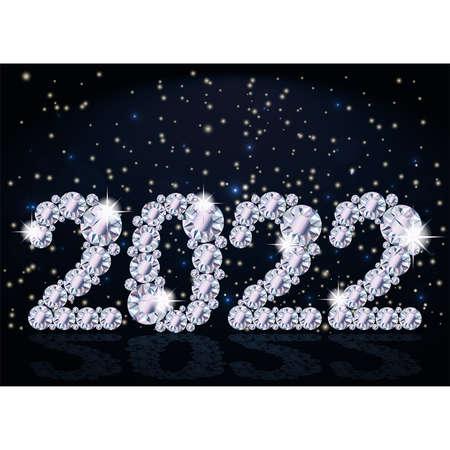 Diamond 2022 New year wallpaper, vector illustration
