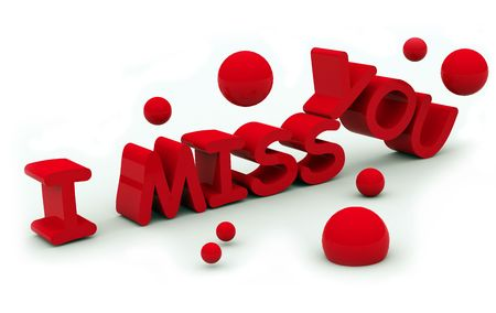 miss: I miss you text on white background Stock Photo