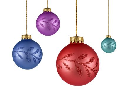 four tree christmas ornaments isolated on white background Stock Photo - 3725053