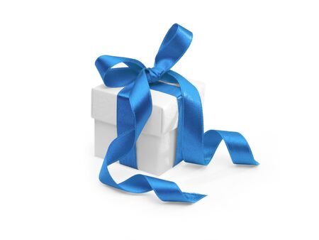 present with blue ribbon on white background. FIND MORE presents in my portfolio Stock Photo - 3801268