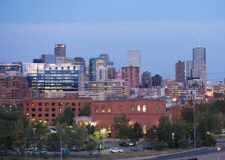 denver skyline at sunset: Denver skyline Editorial