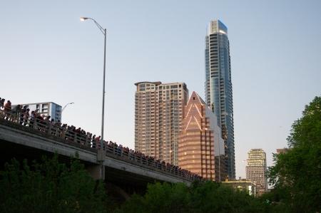 Waiting for the Austin bats to take flight Stok Fotoğraf