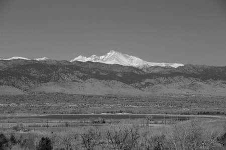A black and white majestic fourteener Longs Peak