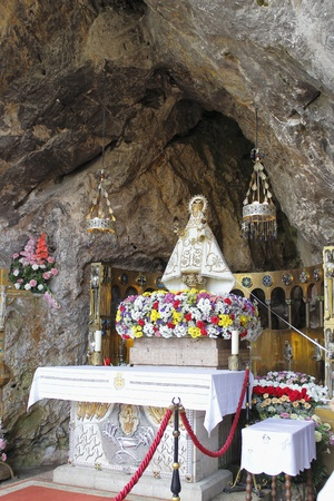covadonga: Covadonga Virgin, in the Sacred Cave, in Cangas de Onis, Asturias, Spain
