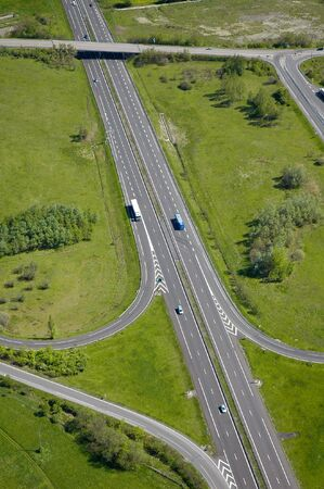 Aerial view of an motorway  Highway in Europe  - France Stock Photo