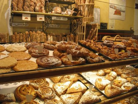 french bakery: French pastries display into a cake shop into the town of Metz - Lorraine region - France - Europe
