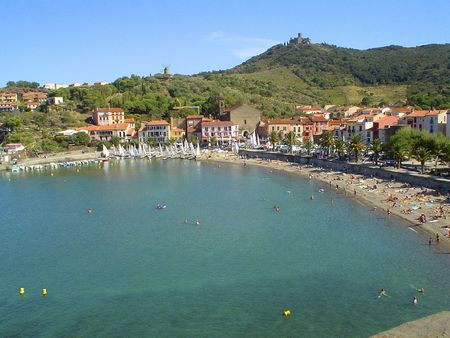 littoral: Bay of Collioure view from the Fort - french Pyrenees - Vermeille coast - France                               Stock Photo