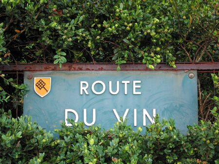 Road sign of the famous french wines road in Alsace region France Stock Photo - 3366337