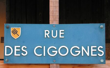 des vins: Street signs in Alsace Region France. Stroks are famous in this region