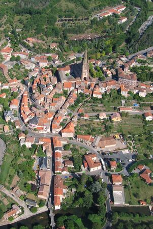 Aerial shoot of the village of Belmont sur Rance  France Stock Photo - 3379343