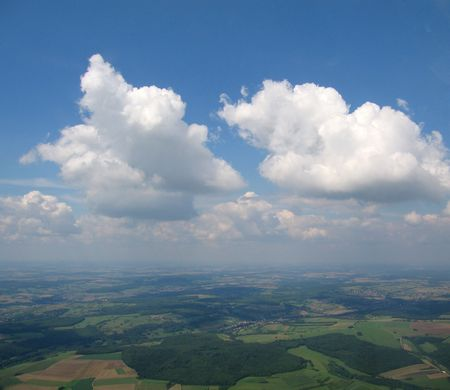 convection: Aerial view from aeroplane of convection Cumulus clouds in the german sky - Arround Saarbrucken - Saarland