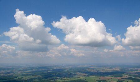 Aerial view from aeroplane of convection Cumulus clouds in the german sky - Arround Saarbrucken - Saarland
