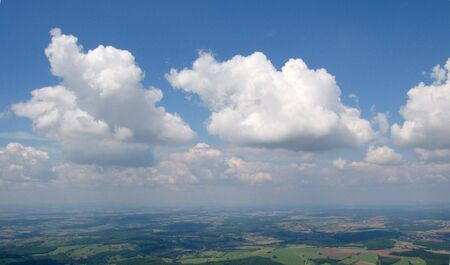 convective: Aerial view from aeroplane of convection Cumulus clouds in the german sky - Arround Saarbrucken - Saarland