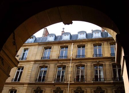 Arcade and old building into the 8th district at Paris - France Stock Photo