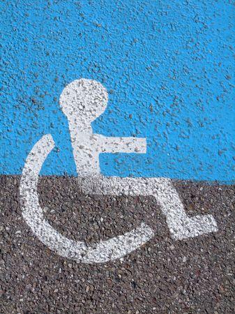 Logo on asphalt for disabled driver photo