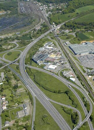 Aerial view of an interchange motorway / Highway in Europe France Stock Photo - 3884840