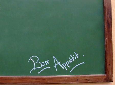 restauration: French restaurant blackboard, Bon appetit, Enjoy your meal Stock Photo