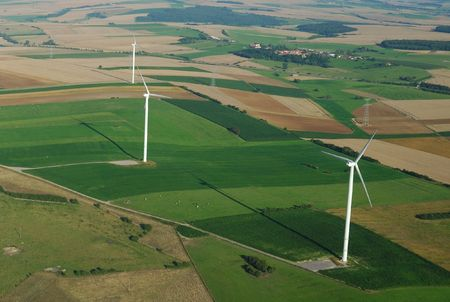 windturbines: Aerial view of a wind farm in France Stock Photo