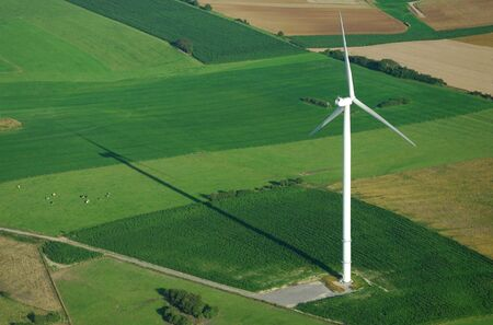 windturbine: aerial view of windturbine shadow France Europe Stock Photo