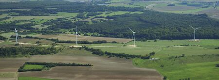 Panoramic and aerial view of a wind farm in France Europe photo