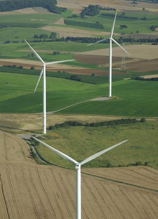 windturbines: Aerial shoot of a wind farm  in France Europe Stock Photo