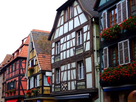 half  timbered: Half timbered of houses facades in Alsace - Obernai France
