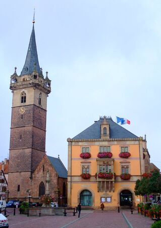 Townhall and clock tower of Obernai city - Alsace France Stock Photo - 4086759