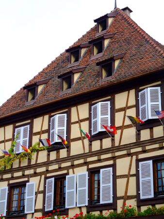 Half-timbered house facade in Alsace - Obernai France Stock Photo - 4086794