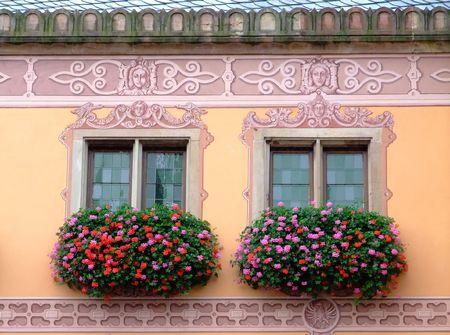 Flowered windows odfObernai townhall - Alsace France
