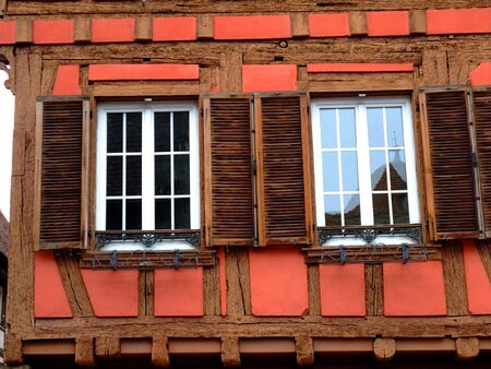 Windows details of a typical half timbered house at Obernai - Alsace France
