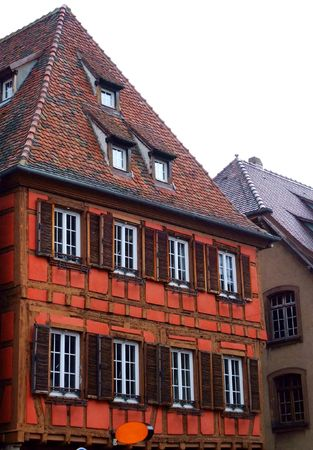 half  timbered: Typical half timbered house at Obernai - Alsace France