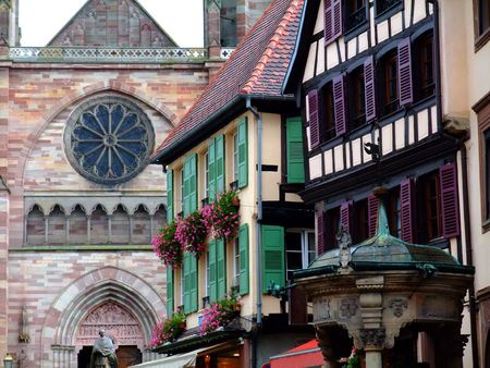 Typical architecture in Alsace region - Obernai France Stock Photo - 4086816