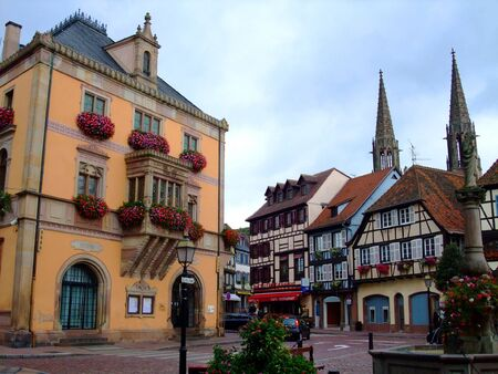 alsace: Townhall on the central place of Obernai city - Alsace France