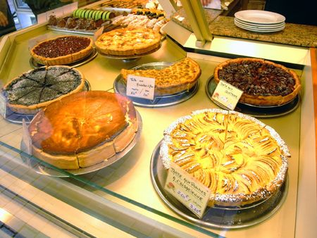 Display of pies in a french cake shop - France Stock Photo - 4086808