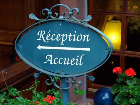 Reception sign of an french four stars hotel in Alsace region Stock Photo
