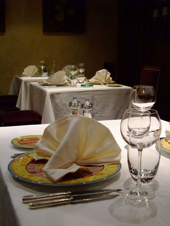 Table set off a french restaurant - France Stock Photo - 4480273