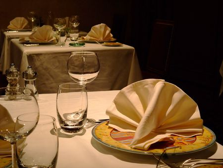 Table set in a french restaurant  France Stock Photo - 4480272