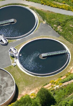 Aerial view of wastewater purification works bassins in France