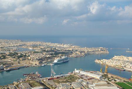 Aerial view of Grand Harbour port,  La Valletta - Malta Island