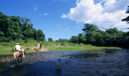 Horse riding crossing a river in Dominican republic countryside Stock Photo