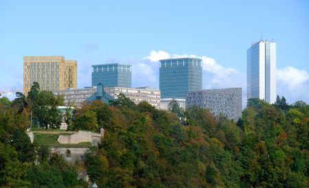 European institutions buildings: Court of Auditors, Court of Justice, European Investment Bank and  European Parliament  - Luxembourg city  Stock Photo