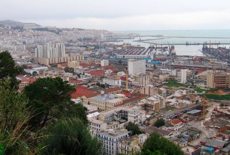 overview: overview of Algiers capital city of Algeria country, Belouizdad suburb and port  - Northern africa