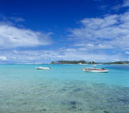 Blue lagoon at Blue Bay. Mauritius Island. Indian Ocean