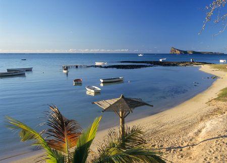 Beach and Lagoon at Bain Beauf beach. Cape Malheureux, Mauritius Island, Indian Ocean