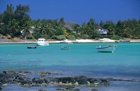Lagoon at Bain Beauf beach. Cape Malheureux, Mauritius Island, Indian Ocean