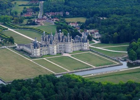 Aerial view of Chambord castle, France
