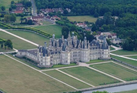 chambord: Aerial view of Chambord castle, France